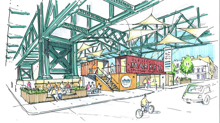 Activating an area under the Benjamin Franklin Bridge are among the goals of Old City District. This is a concept of its potential.
