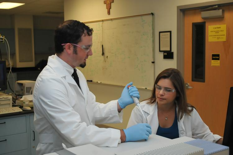 Researchers Lucas Tucker (left) and Jodi O'Donnell (right) at Siena College received a $75,000 grant to develop a solution to detect volatile organic compounds in products.