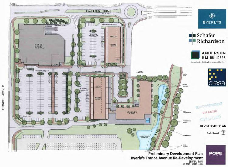 A revised site plan for the Edina Byerly's and housing project. It goes before the City Council Tuesday night.