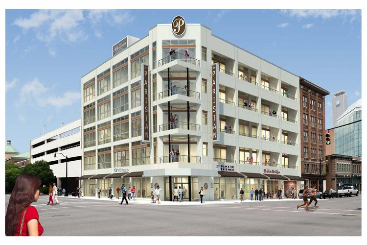 Here's a rendering of how the mixed-use project The Parisian, formerly the Booker T. Washington Insurance Co. building, will look after a $7.5 million renovation.