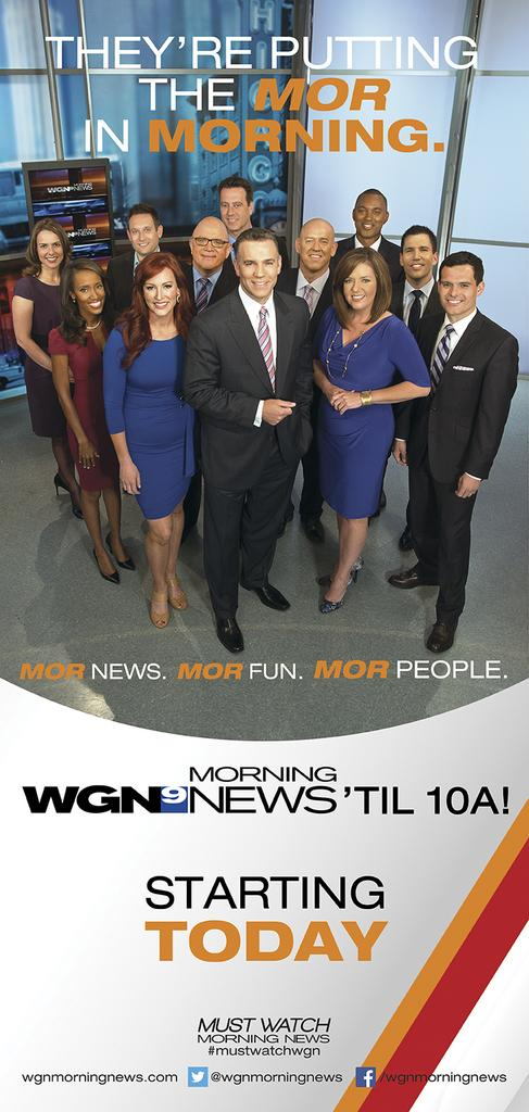 """Even as the """"WGN Morning News"""" team was hanging up on Oprah, the show was running newspaper ads hyping the show's additional hour each day.  Larry Potash is second from left in the front row of the photo."""