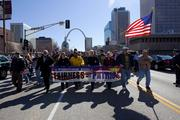 Members of the United Mine Workers of America protest against Peabody Energy Tuesday.
