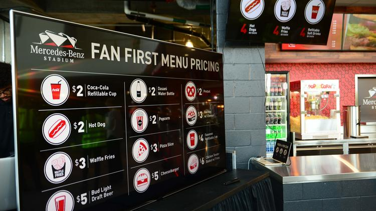 mercedes benz stadium food and beverage pricing among nfl