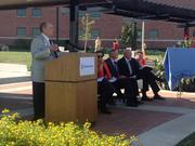 Randall O'Donnell, CEO of Children's Mercy Hospitals and Clinics, speaks to the crowd.