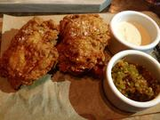 Mary's organic fried chicken with gherkins, remoulade and house-made hot sauce