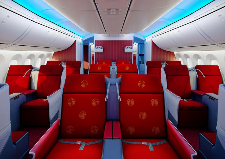 The business class cabin on the Hainan Airlines Dreamliner, which is expected to fly between Chicago and Beijing starting in December.