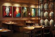 Art displayed in the dining room at Pabu inside the Four Seasons.