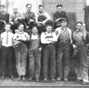 Employees of Portland General Electric at the Hawthorne building. This image was taken i 1931.