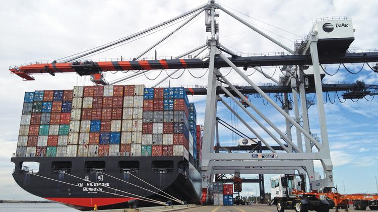 The larger cargo cranes installed at the  TraPac container terminal at Dames Point are needed at Blount Island.