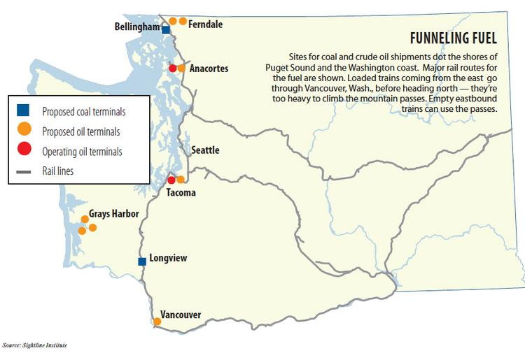 Sites for proposed coal and crude oil terminals dot the shores of Puget Sound and the Washington coast. Major rail routes for the fuel are shown. Loaded trains coming from the east would go through Vancouver, Wash., before heading north — they're too heavy to climb the mountain passes. Empty eastbound trains can use the passes.