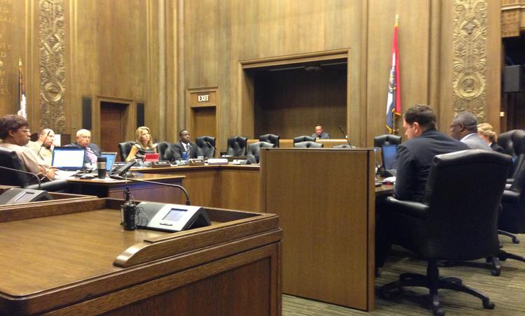The Kansas City Council's Transportation and Infrastructure Committee hears testimony before recommending that the full council approve the construction manager-at-risk contract.