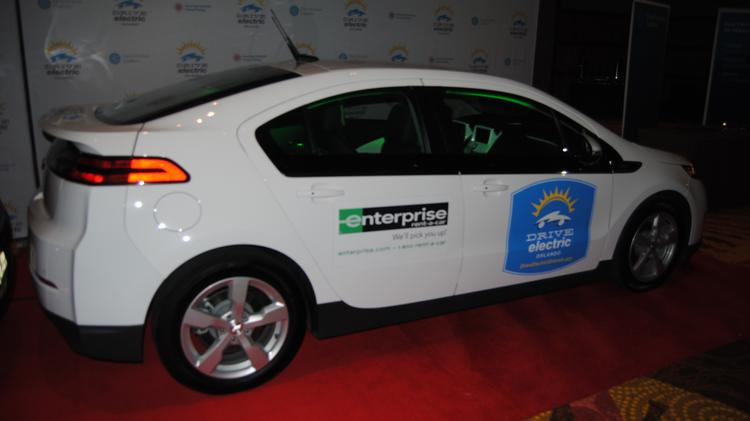 The Peabody Orlando hotel ballroom was filled with electric vehicles for the Drive Electric Orlando event.