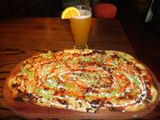Buffalo chicken artisan pizza and a Blue Moon beer at City Oven