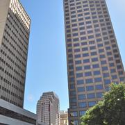 (L to R) Class A offi ce towers Bank of America Plaza and Weston Centre were constructed in the 1980s.