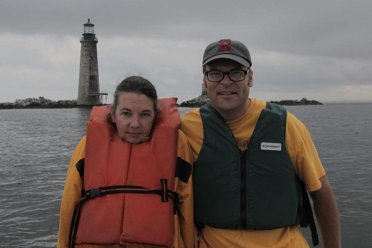 Lynn and Dave Waller at Graves Island lighthouse, which they just bought.