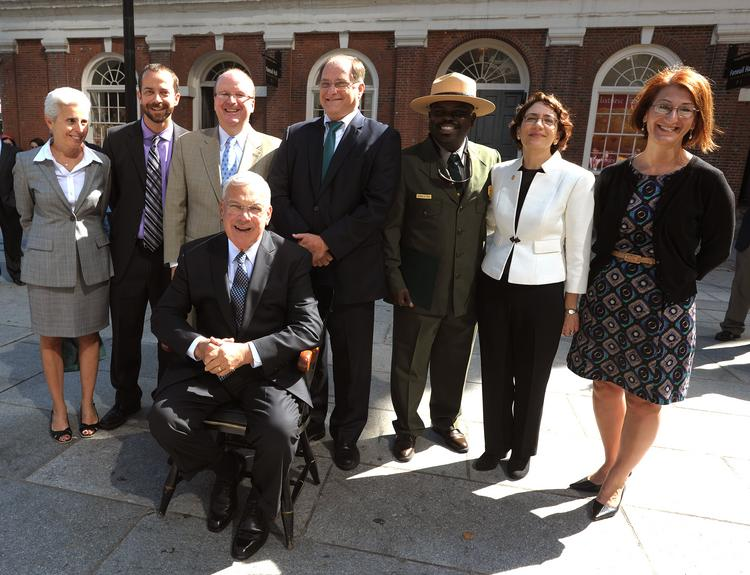 "Mayor Thomas M. Menino receives a $15.5 million federal TIGER grant to fund alternative transportation projects under the ""Connect Historic Boston"" initiative."