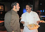 Rasika West End chef Vikram Sunderam chats with Bayou Bakery's David Guas at the 2013 RAMMYs nominations party.
