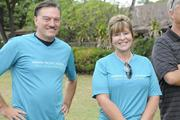 From left, Art Gladstone,CEO of Straub Clinic & Hospital, and Jen Chahanovich, CEO of Pali Momi Medical Center, pose for a photo at the American Heart Association's 5K Heart Walk, which started at Kapiolani Park.