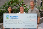 Aloha Petroleum, Ltd. recently donated $5,039 to Aloha Harvest to support the organization's efforts to feed the hungry in Hawaii. From left, Cassandra Bui, marketing communications manager, Aloha Petroleum, Ltd.; Kuulei Williams, executive director, Aloha Harvest; Tom Grimes, vice president and chief financial officer, Aloha Petroleum, Ltd. and vice president of the board of directors of Aloha Harvest.