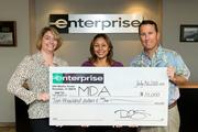 Enterprise Rent-A-Car presents a $10,000 check to the Muscular Dystrophy Association of Hawaii to support the nonprofit's programs in Hawaii, including the annual MDA-Hawaii Camp Erdman week. From left, Dee Lim, human resources manager for Enterprise; MDA Hawaii Executive Director Adrianna O'Donnell; and Enterprise Vice President of Sales & Marketing, External Affairs, Chris Sbarbaro.