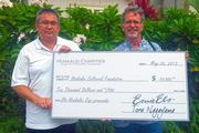 Hoakalei Cultural Foundation recently received a $10,000 donation as a beneficiary of Hoakalei Country Club's fifth annual Els Hoakalei Cup charitable golf tournament. From left, Raymond Kanna, executive vice president of Haseko Homes and Kepa Maly, executive director of the Hoakalei Cultural Foundation.