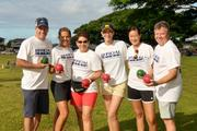 A team from various divisions of Hawaii Human Resources helped officiate this year's Special Olympics Hawaii bocce/soccer tournaments at Waiau District Park. From left, Vice President of Sales J.D. DeMarco; COO Teri Bruesehoff; RN Clinical Manager Amber Marumoto; Customer Service Representative Claire Schoenhoff; Executive Assistant Kate Galloway and Human Resources Manager Dave McKale.
