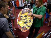 A skull design practically sells itself at the Phase 5 surfboard display.