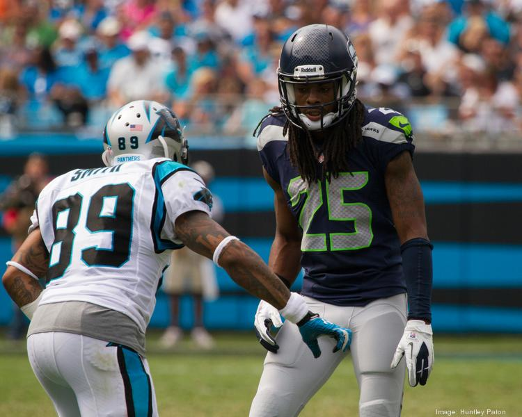 Seattle Seahawks cornerback Richard Sherman, right, gets ready to cover wide receiver Steve Smith during the Seahawks' 12-7 defeat of the Carolina Panthers Sept. 8 at Bank of America Stadium in Charlotte, N.C.