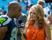 Seattle Seahawks wide receiver Doug Baldwin is interviewed after the game. The Seahawks beat the Carolina Panthers 12-7 in the Sept. 8 game.