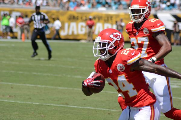 Chiefs defensive back Brandon Flowers runs back a first-quarter interception during a game against the Jacksonville Jaguars.