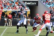 Gabbert throws downfield in second-quarter action.