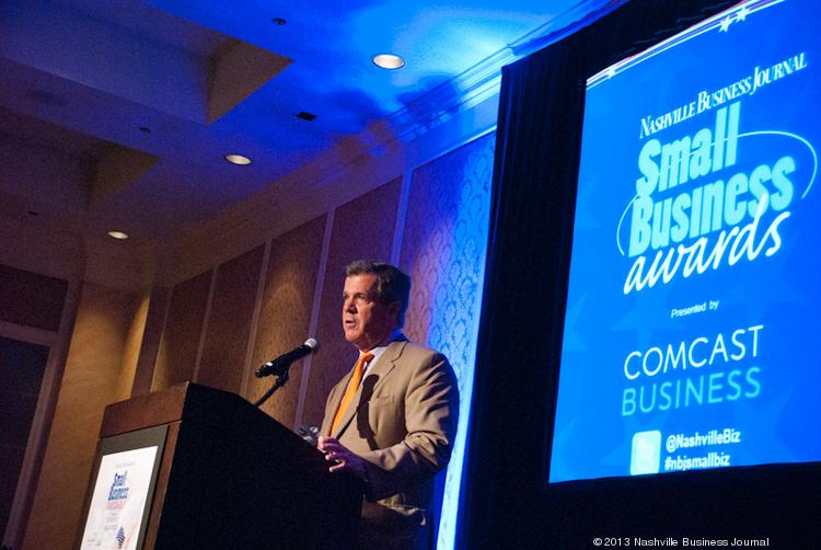 Mayor Karl Dean congratulates finalists at the Nashville Business Journal's 2013 Small Business Awards.