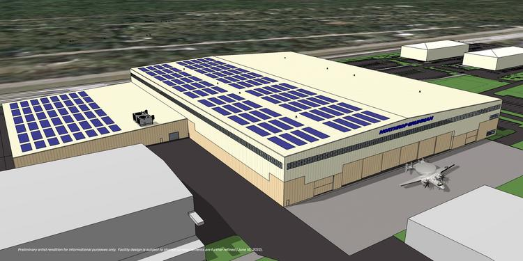 An artist rendering of the 330,000 square foot expansion at Northrup Grumman's site in St. Augustine