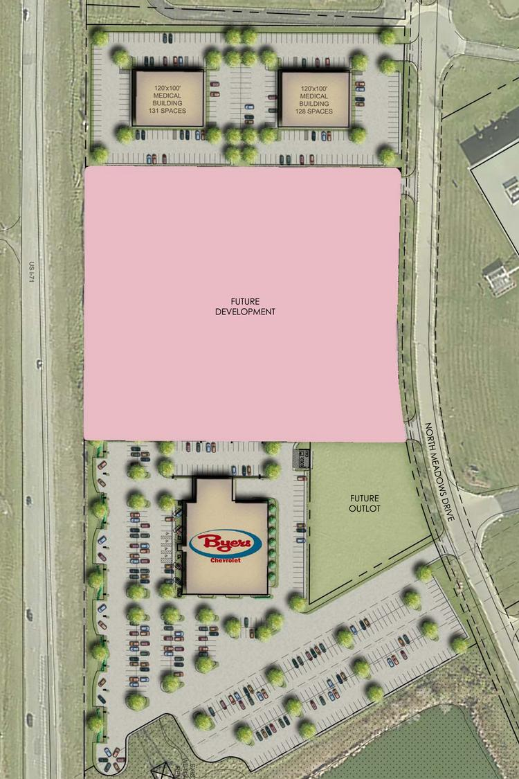 A site plan shows where the Trivium Development medical office buildings sit in relation to the Byers Chevrolet project off I-71 in Grove City.