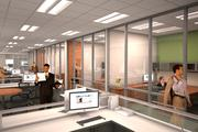 A rendering of office fronts made with mostly glass inside 1301 Fannin.