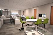 A rendering of a possible open office layout inside 1301 Fannin.