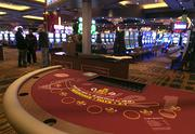 The new blackjack tables are arranged on the floor of the Maryland Live casino on Wednesday morning.