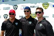 BRUINS DELIVER PUTTS & PUNCHES FOR PARKINSON'S: Some Boston Bruins players were on hand for Shawn Thornton's 4th annual Putts & Punches for Parkinson's Golf Tournament recently at the Ferncroft Country Club in Middleton. From left are players Shawn Thornton, Tuukka Rask and Daniel Paille.