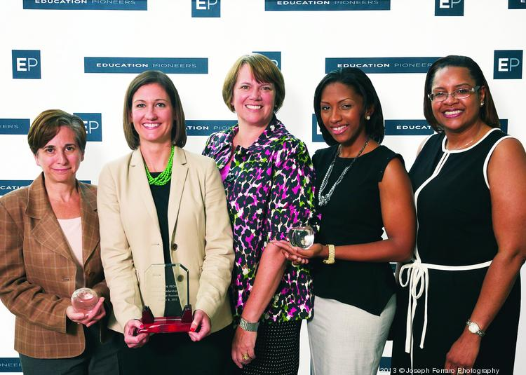 PIONEERS IN EDUCATION: Education Pioneers, a nonprofit that attracts, prepares and advances top leaders and managers to accelerate excellence in education, held its annual Showcase Event recently that honored those who have been pioneers in the education field. This year's honorees are the State Street Foundation, Corporate Leadership Award; Rochelle Murray, Education Pioneer of the Year Award; and Marci Cornell-Feist, Innovation Award. Pictured, from left, are: Cornell-Feist; Amanda Northrop, vice president of State Street Foundation; Frances McLaughlin, president of Education Pioneers; Murray and Kimberly Zouzoua, executive director of Education Pioneers, northern region.