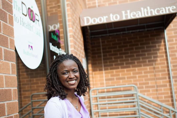 Christine Hall, executive director of Healthy Howard, outside the organization's Columbia office.