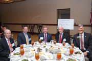 More than 200 of the Washington region's banking and financial leaders gathered on Sept. 6 at the Westin Washington Dulles to hear from former Oklahoma Gov. Frank Keating, who served as the Dulles Regional Chamber of Commerce's Banking Luncheon keynote speaker and currently serves as president and CEO of the American Bankers Association. Sitting at the headtable, from left, Harry Rauner of The Business Bank, Jeff Dick of MainStreet Bank, Bruce Whitehurst of the Virginia Bankers Association, Keating and Don Owens of Griffin-Owens and the Dulles chamber.