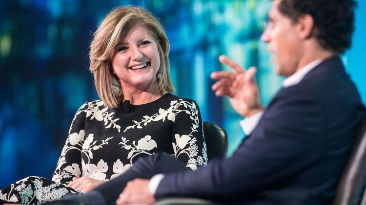 Arianna Huffington at the 2016 Bullhorn Engage event in Boston, being interviewed by Bullhorn CEO Art Papas.