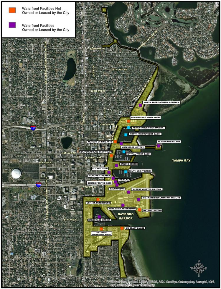 A map from the city's website shows the St. Petersburg waterfront.