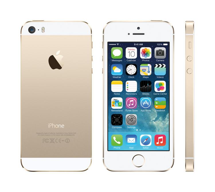 The newly announced iPhone 5S in the new gold color.