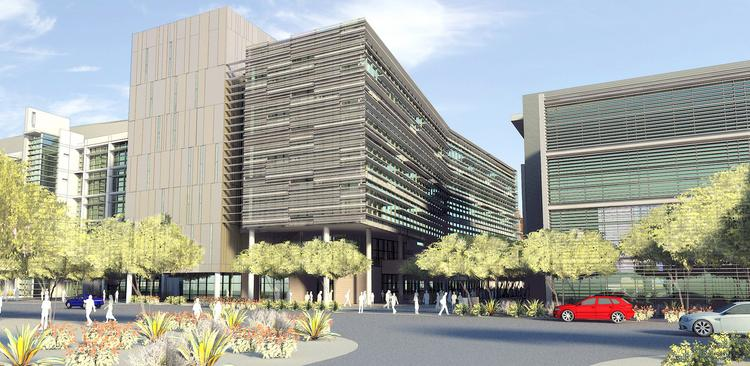 A rendering of the Phoenix Biomedical Collaborative building, to be constructed TGen and ABC I buildings. Click through for more photos and renderings.