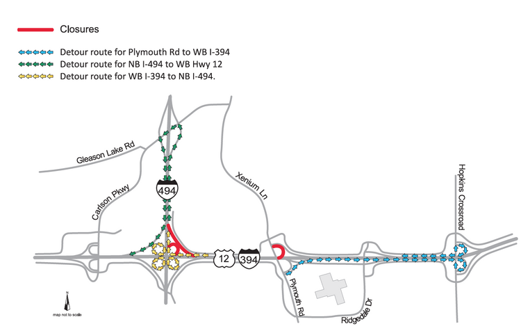Traffic along I-394 in Minnetonka and Plymouth will be rerouted during the next 40 days to accommodate road construction.