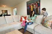 Bohutinsky with her daughter, Emilia, 2, and son, Frankie, 5, in the living room of their recently renovated home in Sheridan Beach.