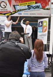 Mayor Michael Hancock participates in LiveWell Colorado's event downtown.