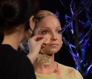 Scare actor Kimberly Kielbasa got the zombie treatment in a prosthetic demo by Universal make-up artist Stacia Gaskins.