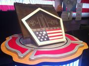 A piece of a steel beam from the World Trade Center was on display for those in attendance.